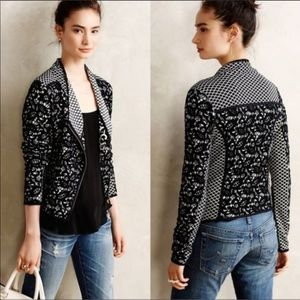 Anthropologie Moth Jacquard Lace Moto Jacket S
